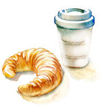 咖啡和新月形面包在白色背景 库存图片