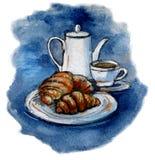 咖啡和新月形面包 额嘴装饰飞行例证图象其纸部分燕子水彩 向量例证