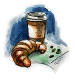 咖啡和新月形面包 额嘴装饰飞行例证图象其纸部分燕子水彩 皇族释放例证