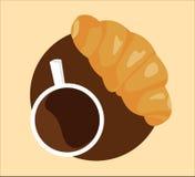 咖啡和新月形面包 皇族释放例证