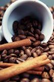 咖啡和桂香 免版税库存照片