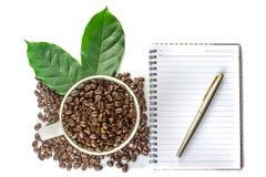 咖啡和笔记 库存图片