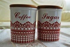 咖啡和糖罐 库存照片