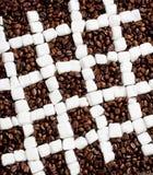 咖啡和糖静物画  免版税库存照片