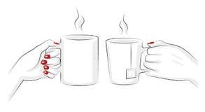咖啡和茶杯子的传染媒介例证 免版税库存照片
