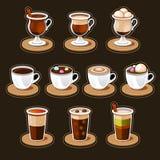 咖啡和茶杯集合。 免版税库存图片