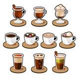 咖啡和茶杯集合。 免版税库存照片