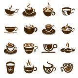 咖啡和茶杯集合,象汇集。 免版税库存照片