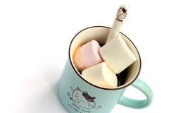 咖啡和蛋白软糖 免版税库存图片