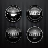 咖啡和面包店徽章和标号组 免版税库存照片