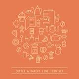 咖啡和面包店线象 库存图片