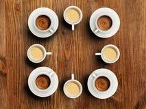 咖啡品种在陶瓷杯子的 咖啡概念的时刻 文本的空间 免版税库存照片
