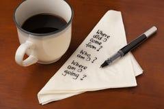 咖啡哲学问题 免版税库存照片