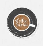 咖啡商标例证,设计咖啡馆菜单,行家难看的东西背景 免版税库存图片