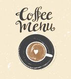 咖啡商标例证,设计咖啡馆菜单,难看的东西传染媒介背景 库存图片
