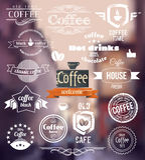 咖啡商标 老镇邮票概念 传染媒介减速火箭的咖啡徽章和标签