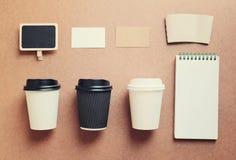 咖啡嘲笑为烙记从顶视图的身分 库存图片