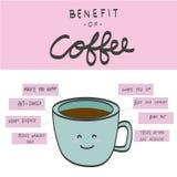 咖啡图例证的好处 免版税库存图片