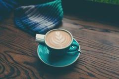 咖啡在一张木表的 免版税库存照片