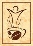 咖啡在减速火箭的样式的 库存照片