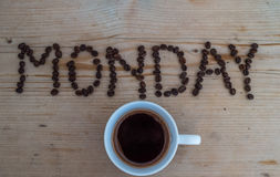 咖啡在木背景的 免版税图库摄影