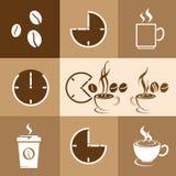 咖啡在棕色背景,传染媒介例证的时间设计 免版税库存照片