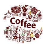 咖啡在葡萄酒样式的设计元素 免版税库存图片