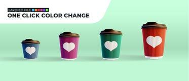 咖啡在薄荷的绿色背景的波纹杯 层状文件 一点击颜色变动 库存照片