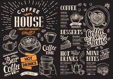 咖啡在黑板的餐馆菜单 传染媒介酒吧的饮料飞行物 皇族释放例证