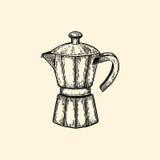 咖啡壶 在剪影样式的传染媒介例证 库存照片