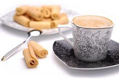 咖啡奶蛋烘饼 免版税库存图片