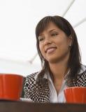 咖啡她的会议 免版税库存照片