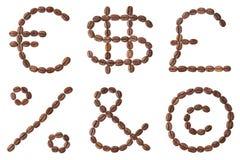 咖啡字母表。 免版税库存图片