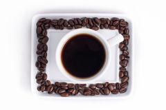 咖啡安排了用新鲜的烤咖啡豆 库存图片