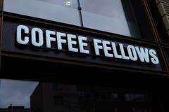咖啡家伙在法兰克福购物商标 免版税库存照片