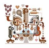 咖啡工厂-传染媒介例证 免版税库存图片