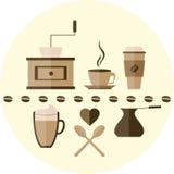 咖啡平的象 免版税库存图片