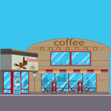 咖啡店传染媒介平的例证 免版税库存照片