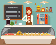 咖啡店内部卖主面包店口味甜点平的设计传染媒介例证 库存例证