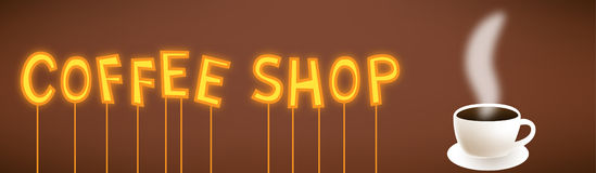 咖啡店动画片霓虹灯广告 免版税图库摄影
