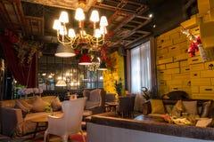 咖啡店和它的内部修剪苏州,中国 库存照片