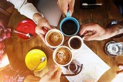 咖啡店咖啡馆餐馆拿铁热奶咖啡概念 免版税图库摄影