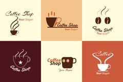 咖啡店商标例证的汇集 免版税图库摄影