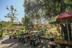 咖啡店在庭院里 免版税库存照片