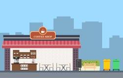 咖啡店平的布景 免版税图库摄影