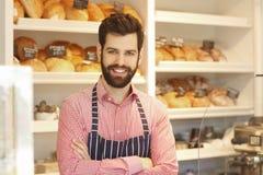 年轻咖啡店所有者 免版税库存照片