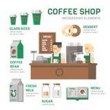 咖啡店infographic平的设计 免版税库存图片