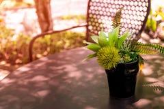 咖啡开会角落在庭院里 库存照片