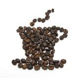 咖啡形状做用咖啡豆 免版税库存图片