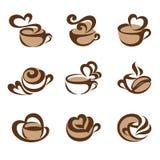 咖啡徽标集合模板向量 免版税库存照片